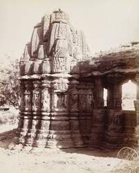View from the west of the north shrine of the old temple at Kasara, Gujarat